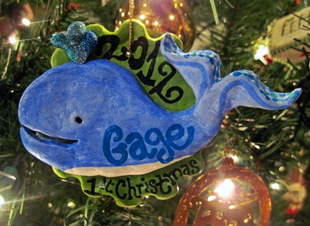 paper mache whale ornament by oliveloaf design
